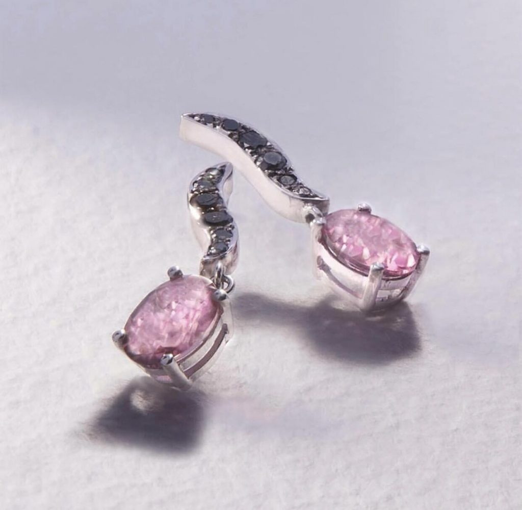 18ct Gold Black Diamond and Pink Topaz Earrings £1220.00