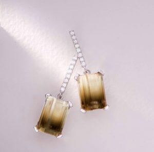 18ct White Gold Diamond and Bi Colour Quartz Earrings £1890.00