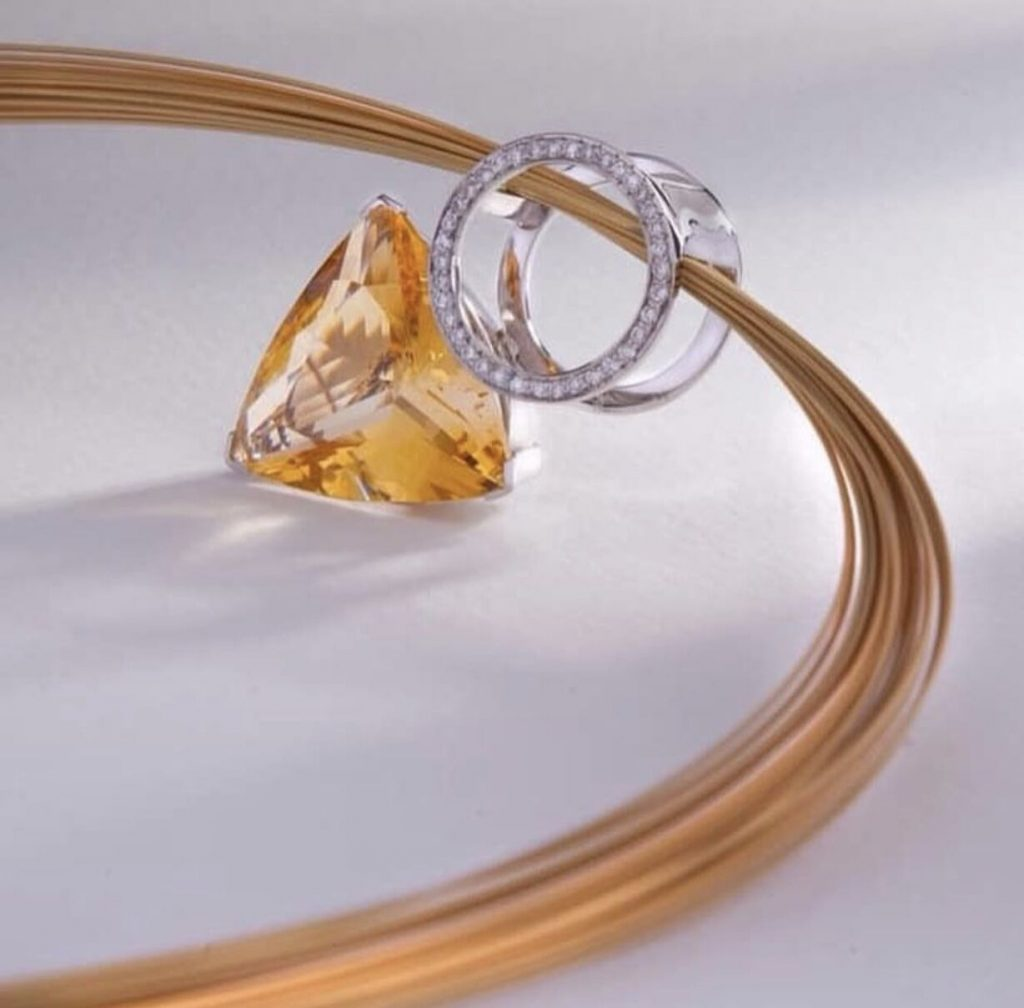 18ct White Gold Diamond and Citrine Pendant £3970.00