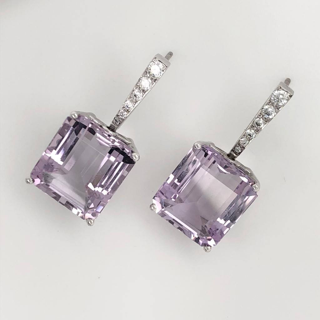 18ct White Gold Diamond and French Pink Amethyst Earrings £3690.00