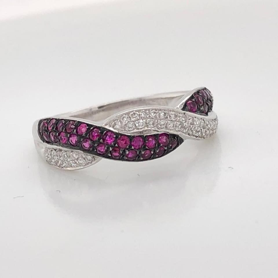 18ct White Gold Diamond and Ruby Ring £1360.00