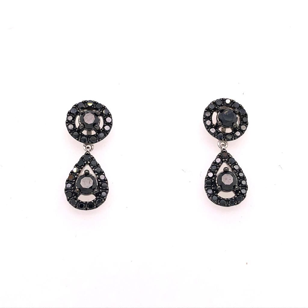18ct White Gold and Black Diamond Earrings £1390.00