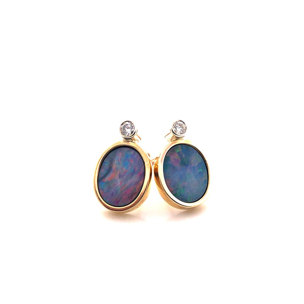 9ct Gold Diamond and Opal Doublet £660.00