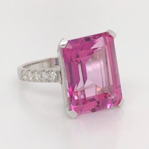 9ct White Gold Pink Topaz and Diamond Ring £1520.00