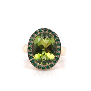 9ct Yellow Gold Peridot and Emerald Ring £2350.00
