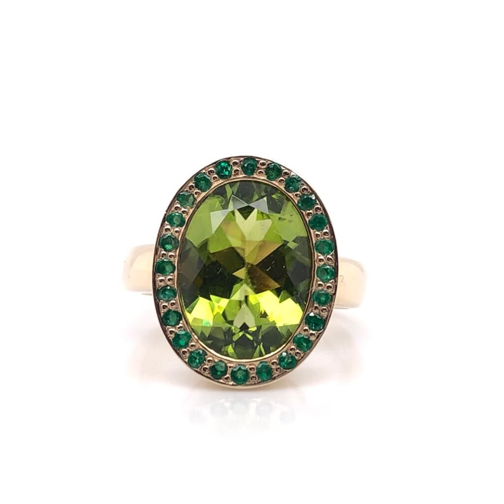 9ct Yellow Gold Peridot and Emerald Ring £2350.00
