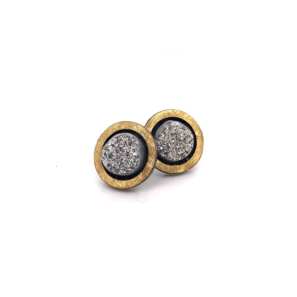 Silver 18ct Gold and Druzy Onyx Earrings £218.00