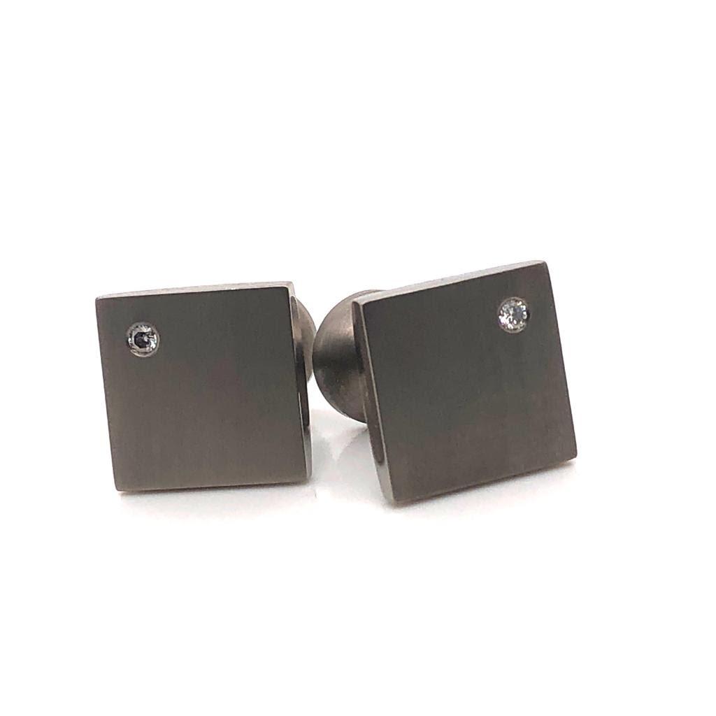 Titanium Diamond Set Cufflinks